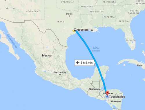 map showing route from Houston to Tegucigalpa