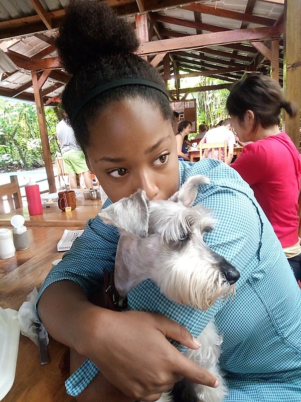 girl holding grey dog