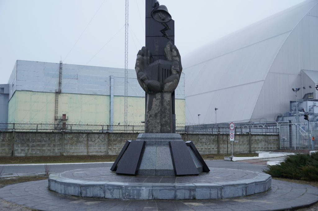 Chernobyl monument in front of Reactor No. 4