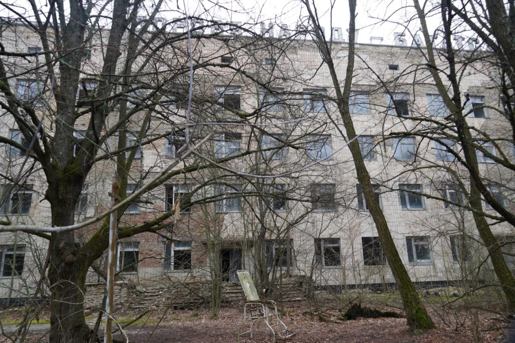 Exterior of Pripyat hotel in the Chernobyl Exclusion Zone
