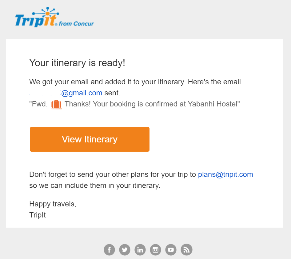 screenshot of TripIt confirmation email