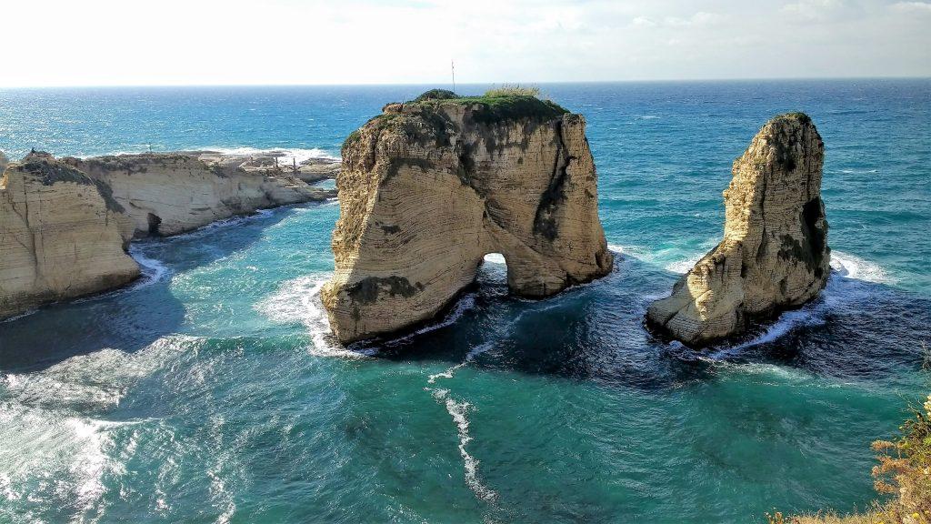 Raouche Rocks near the coast of Beirut