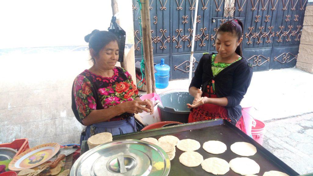 Street vendor making tortillas