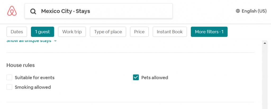 airbnb search filter
