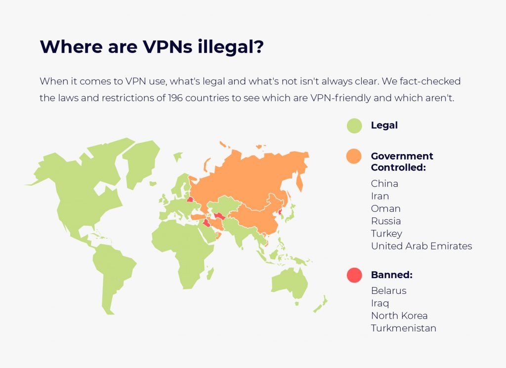 map of countries where VPNs are legal or not