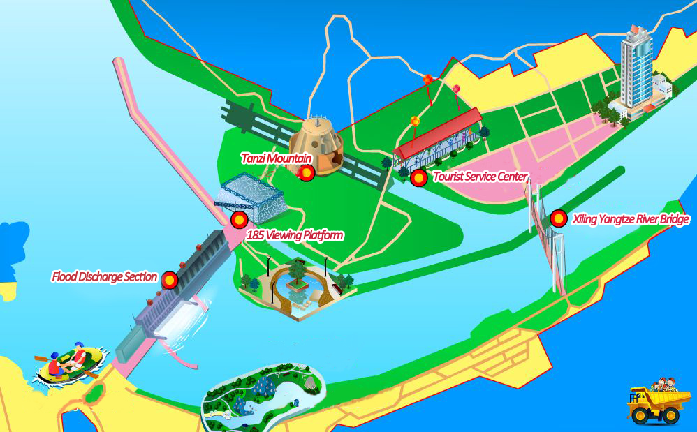 map of Three Gorges Dam tourist area