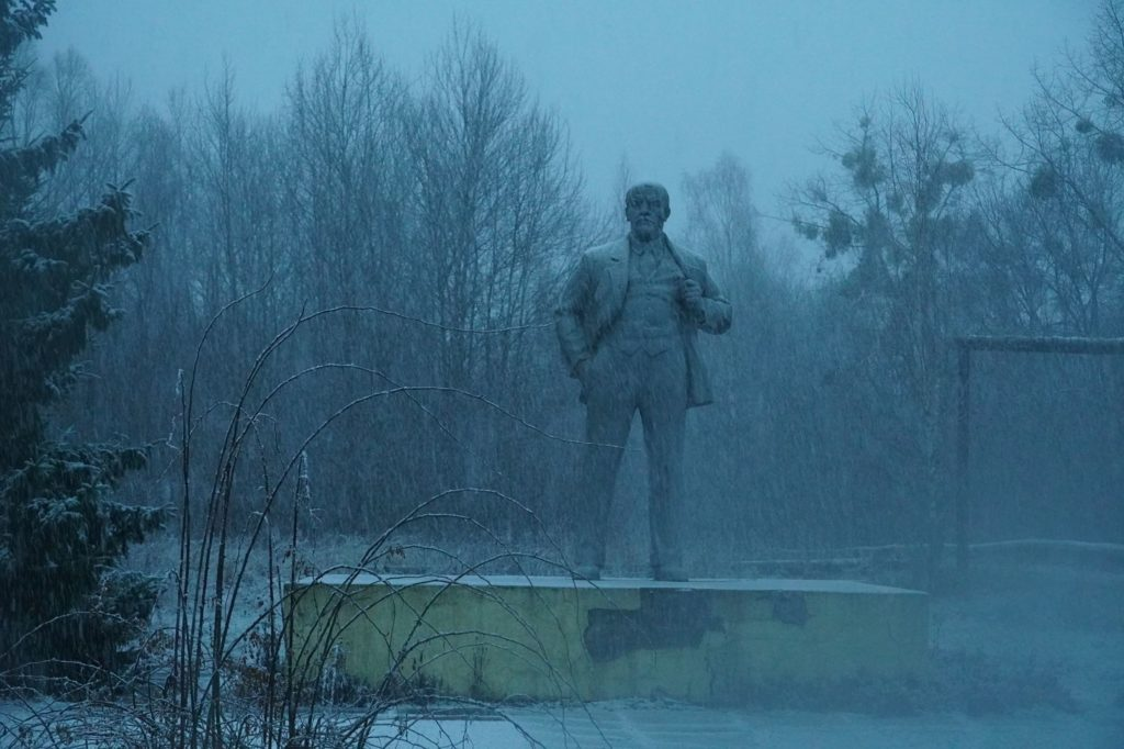 statue of VI Lenin in the Chernobyl Exclusion Zone