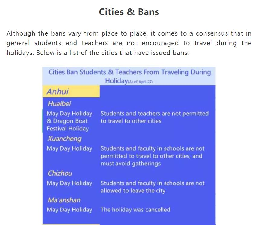 screenshot of travel ban notification